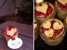 So cute. Pie in a small jar. Could just be for a rainy day snack or for a special occasion.