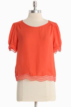 Starry Eyed Sheer Blouse In Coral   Modern Vintage Tops