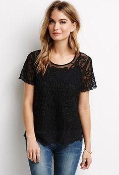 Floral Embroidered Mesh Top   Forever 21 - 2000098596
