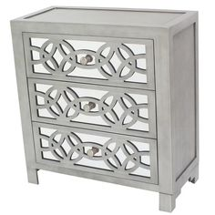 Bring distinct style to your room with the River of Goods Glam Slam 3 Drawer Mirrored Chest . This sophisticated drawer features wood detail over mirrored. Mirrored Furniture, Cabinet Furniture, Mirrored Nightstand, Furniture Decor, Furniture Sale, Entry Furniture, Gray Furniture, Hooker Furniture, Furniture Storage