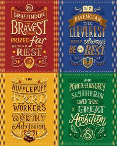 Harry Potter Lettering series in collaboration with Risa Rodil, featuring the Hogwarts Houses from Harry Potter. Harry Potter World, Harry Potter Quiz, Estilo Harry Potter, Images Harry Potter, Classe Harry Potter, Arte Do Harry Potter, Harry Potter Drawings, Harry Potter Room, Harry Potter Universal