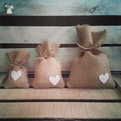 Set of 12 -Natural Burlap Favor Bags with Hearts & Jute Twine-Three Sizes Available - Wedding favors (*Amazon Partner-Link)