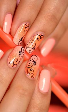 Cute Nail Designs of 2014 Nail Art Arabesque, Get Nails, Hair And Nails, Fancy Nails, Orange Nails, Peach Nails, Perfect Nails, Fabulous Nails, Gorgeous Nails