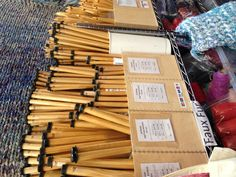 Extremely large knitting needles for extreme knitting! As seen at Creative Stitches Show