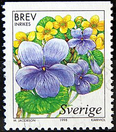 Sweden.  WETLAND FLOWERS.  MARSH VIOLET. Scott 2279 A703, Issued 1998 May 14, Lithogravured,  Perf. 12 1/2  on 3 sides.