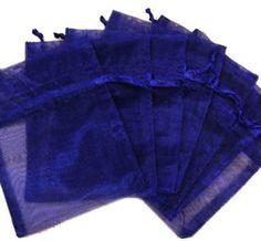 "50Pcs Solid Navy Blue Drawstring Organza Flare Wedding Gift Pouch Bag 2.7x3.5"""