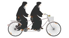 Monjas en bicicleta Tandem Bicycle, Bicycle Art, Persona Feliz, Mtb, Make Me Smile, Cycling, Biker, Stamps, Sweet