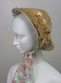 Bonnet, 1850, Made of silk, crepe, straw, and silk
