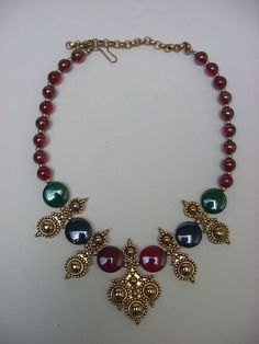 Vintage Barrera Etruscan Gold and Jewels Large Dramatic Necklace