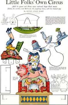 Cut Out Toys LITTLE FOLK CIRCUS Acrobat CLOWN Trained Pig 1918 MAGAZINE PAGE | eBay