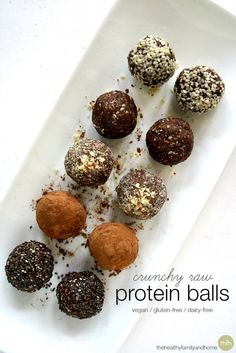 Crunchy Raw Protein Balls...a perfect healthy snack and they're raw, vegan, gluten-free and paleo-friendly (depending on the protein powder you use). Enjoy!