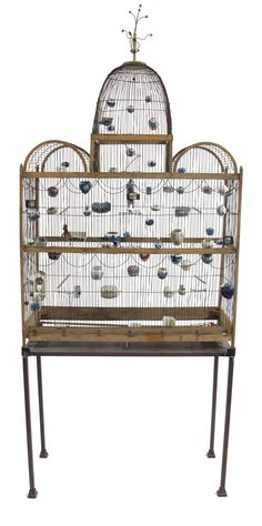 Large Victorian style wood and wirework bird cage  19th century  The central cupola flanked by two arches over a rectangular frame, hung with numerous Chinese porcelain bird feeds to the inside, raised on steel stand