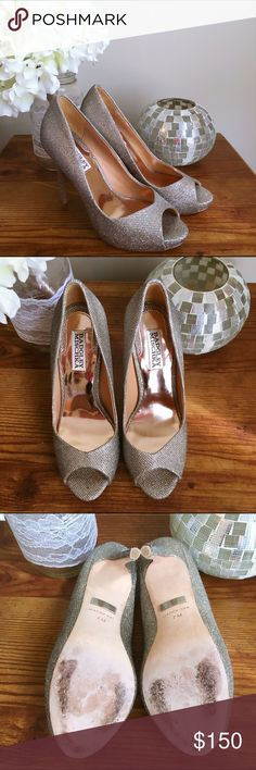 HP Badgley Mischka pumps Beautiful silvery pumps by Badgley Mischka. Color is called Platino. Worn once. Slight fraying of fabric at bottom of one heel but otherwise perfect (shown in last picture). Comes with original box and dust bag. Badgley Mischka Shoes Heels