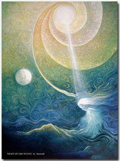 ☽ Celestial Dreams ☼ Night of the Mystic by Freydoon Rassouli Fantasy Kunst, Fantasy Art, Painting Inspiration, Art Inspo, Spiritual Paintings, Kunst Inspo, Illustrator, Mystique, Visionary Art