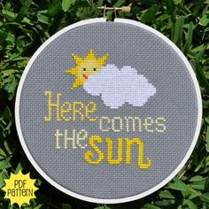 Here Comes the Sun Cross Stitch Pattern Download, sent by email. $4.00, via Etsy.
