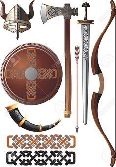 Conjunto de iconos relacionados con los vikingos.