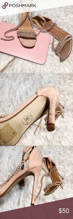"""Missguided pink chain heels Strappy heels • refer to size guide • strappy chain heels • blush pink heels • Good condition • Open to offers via button • 5"""" heel • faux suede • Missguided Shoes Heels"""