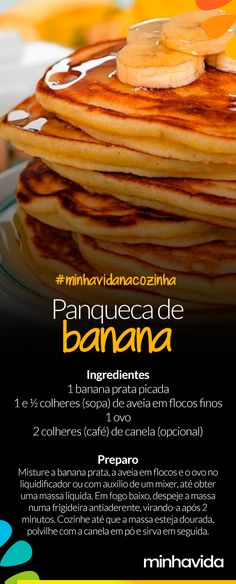 Receita: panqueca de banana Here's a healthy way to prepare this perfect treat for a healthy, light breakfast. Vegan Foods, Vegan Recipes, Cooking Recipes, I Love Food, Good Food, Yummy Food, Breakfast Snacks, Food Inspiration, Food Porn
