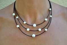 Leather and Pearl Necklace Brown & White by ChristineChandler, $179.00
