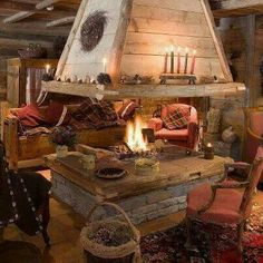 Rustic fireplace. I love open hearth fireplaces. They remind me of the movie White Christmas.