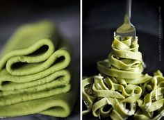 Organic Matcha Pasta. With just a hint of matcha earthiness, these made-from-scratch noodles have a fabulous green matcha color! #matcha #dinner