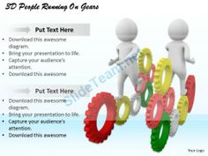 1113 3D People Running on Gears Ppt Graphics Icons Powerpoint #Powerpoint #Templates #Infographics