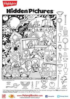 """Képtalálat a következőre: """"hidden pictures highlights"""" Highlights Hidden Pictures, Highlights Kids, Hidden Pictures Printables, Find The Hidden Objects, Coloring Books, Coloring Pages, Hidden Picture Puzzles, Hidden Images, Hidden Pics"""