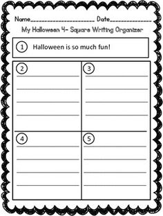 Four Square Writing is an easy and effective way to engage students in writing.  There is a given topic sentence and four squares for writers to creatively express themselves.  During this process students will learn how to write detail sentences that will form a well constructed paragraph for their draft and final copy.