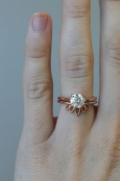 This Unique Vintage Moissanite Engagement ring set Forever Brilliant Antique Leaves Diamond Pink Sapphire wedding band leaf Bridal Jewelry is just one of the custom, handmade pieces you'll find in our engagement rings shops. Best Engagement Rings, Rose Gold Engagement Ring, Engagement Ring Settings, Vintage Engagement Rings, Diamond Wedding Bands, Solitaire Engagement, Solitaire Rings, Wedding Engagement, Curved Wedding Band