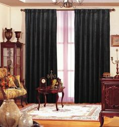 "Black Velvet Drape 55""X 84"" Each Panel. Create A Modern Style Statement In Your Bedroom, Living Room, Theatre Or Patio Setting With This Dashing Black Velvet Curtain Drape. The Beautiful Black Velvet Is A Trendy Way To Decorate Your Interior. By Inviting This Black Beauty To Your Room, You Can Brighten Up The Room And Make It Look More Appealing To Eyes. The Black Velvet Drape On Your Window Creates A Sharp Contrast To The Light Shades Used On Your Wall And Upholstery. The Shiny Bl..."