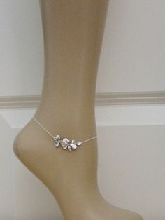 Triple Orchid Sterling Silver Anklet by beadxs on Etsy, $23.00