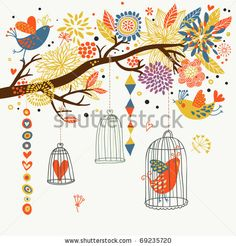 stock vector : Romantic floral background with cartoon birds
