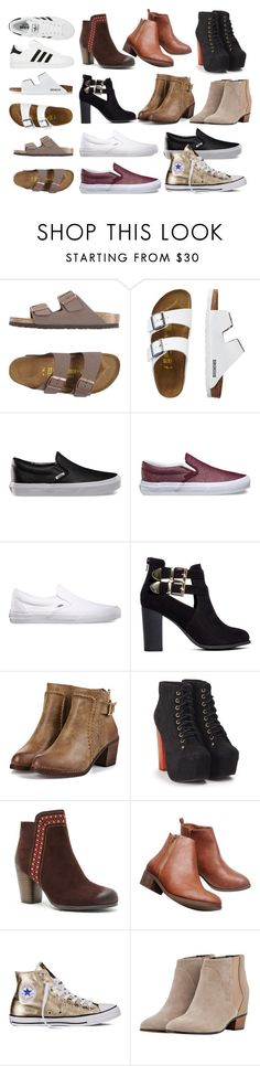 """""""Shoes I want👟"""" by freedom2095 ❤ liked on Polyvore featuring Birkenstock, TravelSmith, adidas, Vans, London Rebel, Jeffrey Campbell, ShoeMaiden, Wet Seal, Converse and Golden Goose"""