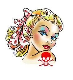 Rockabilly Nail Art Pin Up Girl with Skull & Crossbones Tattoo Water Slide set of 20 Blonde pinups | sharonna misha - manicure pedicure Patterns on ArtFire #mani #pedi
