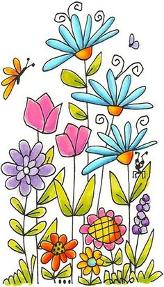 63 Ideas For Flowers Drawing Doodles Coloring Pages Art Floral, Doodle Drawings, Doodle Art, Watercolor Flowers, Watercolor Art, Drawing Flowers, Painting Flowers, Flower Drawing For Kids, Flower Garden Drawing