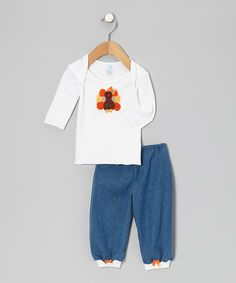Look at this #zulilyfind! tiny bundles White Knit Turkey Bow Lap Neck Tee & Blue Pants - Infant by tiny bundles #zulilyfinds