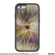 Monogram Floral Fantasy Gold Aubergine Abstract Tough Xtreme iPhone 6 Case