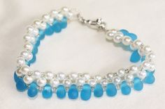 Pearl and Frosted Blue Teardrop Bracelet by HeatherMysticalHaven