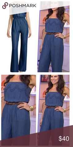 Chic wide leg chambray jumpsuit SALE LIMITED SIZES Wide leg tank chambray jumpsuit great soft light weight jumpsuit with scallop trim detailPLEASE USE Poshmark new option you can purchase and it will give you the option to pick the size you want ( all sizes are available) BUNDLE And SAVE 10% ( sizes updated daily ) Pants Jumpsuits & Rompers