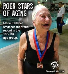Reputed as a 'Rock Star Of Aging,' Marie Kelleher - we honour and applaud you!  You're never too old to keep on living your life and doing the things that make you happy.   Rock on sister!  Too bad this site doesn't really give us a real story but nonetheless we like it.