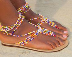 Asha O African Handmade Beaded Sandals