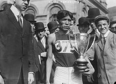 RUNNING - MARATHON: Hopi American long distance runner and Olympic medal winner Louis Tewanima after winning a marathon in New York City, May 6, 1911.