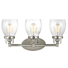 3 Light Belton Vanity in Brushed Nickel with Clear Seedy Glass by Sea Gull Lighting 4414503-962