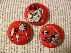 Georgia Bulldogs - 1 1/2 Fabric Covered Button Earrings on Etsy, $7.00