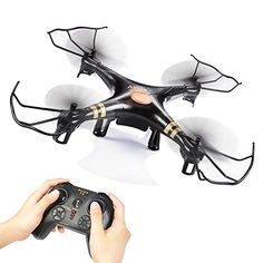 GPTOYS Black Aviax 2.4GHz 6-Axis GYRO #RC #Quadcopter #Drone with Headless Mode, 360-degree 3D Rolling, One Key Return, LED Lights, ABS Materials, DIY, Luxury Gift Box (Color: Black)  The F2 Black Aviax weight approximately 0.3 lb with battery, NO NEED TO REGISTER WITH FAA.