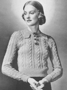 Vintage 1930s Sweater Jumper Knitting Pattern Wishbone Stitch Leaf Tab Bust 34 Size  XS S Extra Small PDF 3704