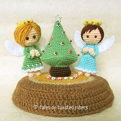 These little angels are 4.5 inches tall and require only small amounts of yarn to make. The tree is only marginally taller than the angels at 5 inches. If you are looking for a fun, quick and easy Christmas-themed stash busting project, this is just the one you need.