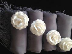 Set of 4 Gray Bridal Shawl Grey Wedding Shawl by RosaShawls