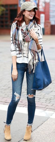 The Miller Affect Plaid Scarf On Stripes Fall Street Style Inspo #Fashionistas
