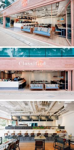 Substance have designed the latest restaurant for the dining brand Classified, in Hong Kong. Café Restaurant, Outdoor Restaurant Design, Bestes Restaurant, Restaurant Concept, Bar Deco, Bakery Cafe, Outdoor Swings, Porch Swings, Hong Kong Cafe